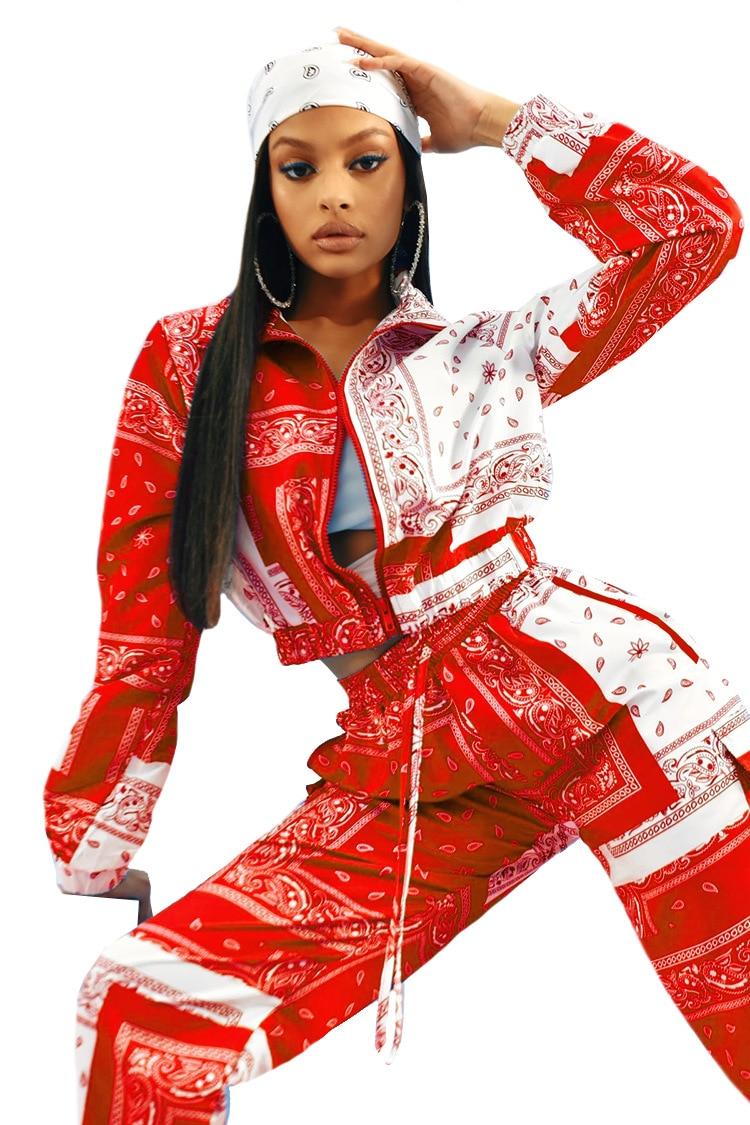 Paisley Bandana Print Two 2 Piece Set Women Fitness Sweatsuit Zipper Up Sweatshirt + Jogger Pants Set Tracksuit Vintage Outfits 8