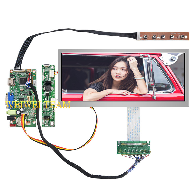 10.3 inch IPS Pro LCD Display 1920x720 Stretched Bar LCD Ultra Wide Screen 50 Pins LVDS VGA HDMI Controller Board for Car-in Mobile Phone LCD Screens from Cellphones & Telecommunications