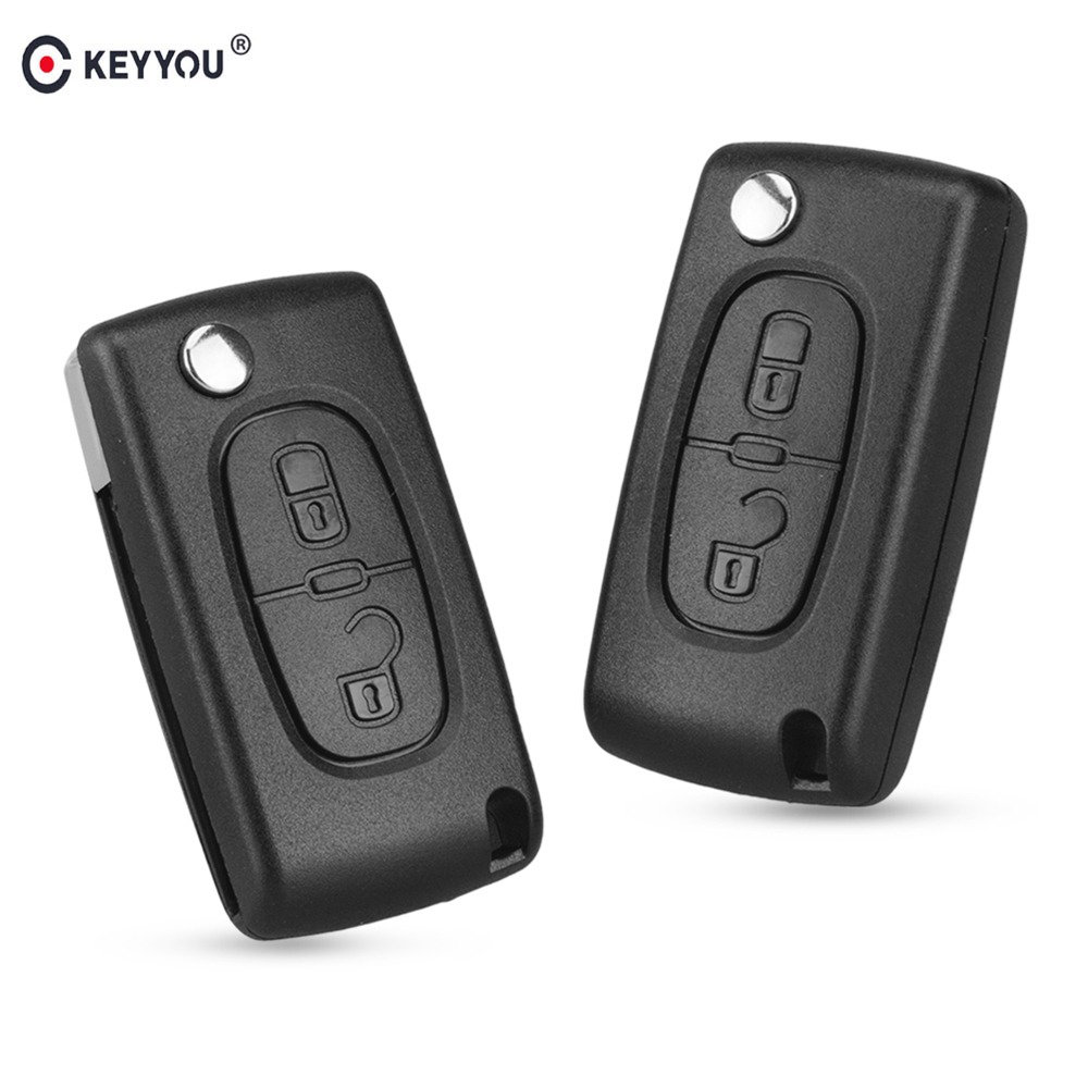 KEYYOU Flip Folding 2/3 Button Car Remote Key Case Shell For PEUGEOT 206 307 308 207 407 408 For Citroen C2 C3 C4 C5 C6 C8-in Car Key from Automobiles & Motorcycles