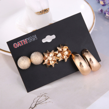 3 Pairs/set Fashion Gold Metal Flower Ball Big Stud Earrings Set For Women Simple Round Circle Earring Ladies Party Jewelry Gift 3 pairs set trendy gold frosted heart stud earrings for women fashion metal hollow ball big circle earring set mixed jewelry