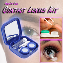 2021NewMini Square Contact Lens Case with Mirror Women Colored Contact Lenses Box Eyes Contact Lens Container Lovely Travel Kit cheap Unisex CN(Origin) 4 8cm 6 8cm Oval 1 8cm Solid ROUND Cartoon Black Blue