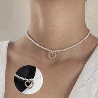 Neue Süße Herz Anhänger Halskette Frauen Schmuck Halskette Einfache Design Kleine Simulierte Perlen Armband mit Delicate Schmuck Geschenk