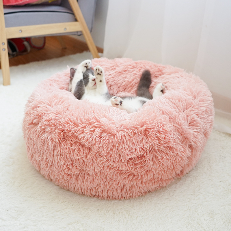Warm Fleece Dog Cat Bed Round Pet Lounger Cushion For Small Medium Large Dogs Cat Winter Dog Kennel Puppy Mat Pet Bed