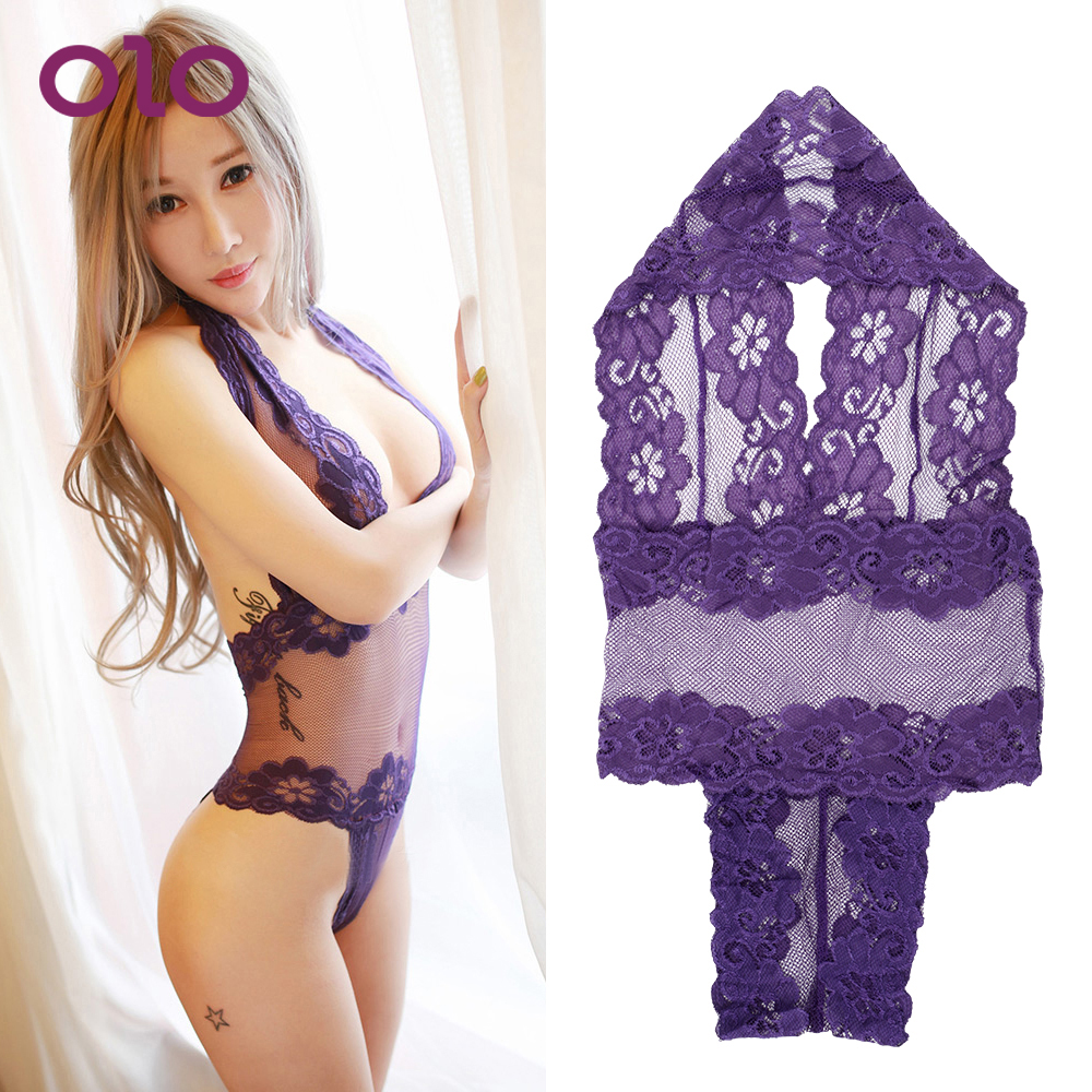 OLO Erotic Lingerie Open BraHalter Lenceria Sex Babydoll Costumes Women Perspective Lace Sexy Underwear Sexy Teddy Lingerie
