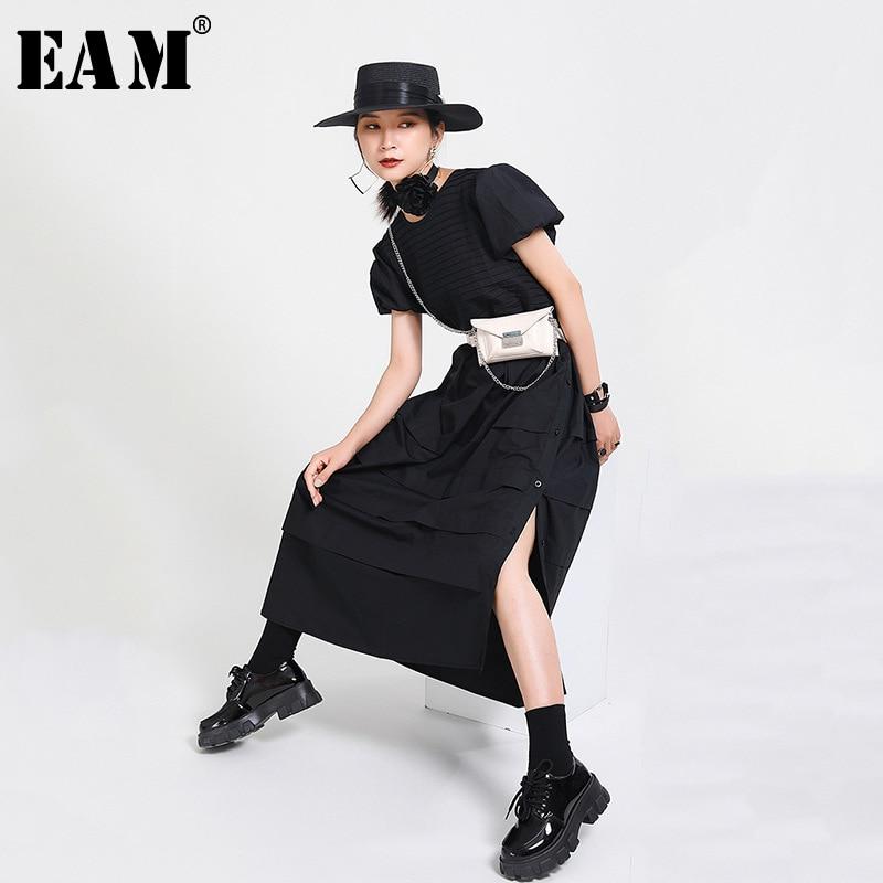 [EAM] Women Black Pleated Split Long Cake Dress New Round Neck Short Sleeve Loose Fit Fashion Tide Spring Summer 2020 1X931