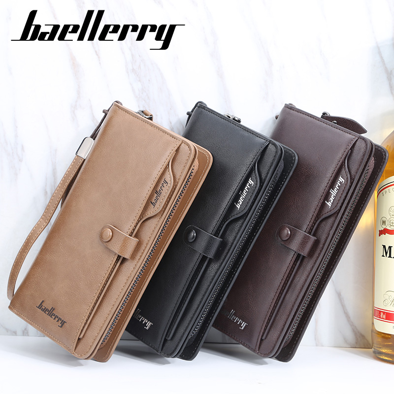 Baellerry Luxury Brand Men Wallet Long Clutch Purses Top-quality Leather Card Holder Fashion High Capacity Business Slim Wallet