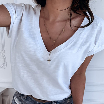 2020 Women T Shirts Short Sleeve V Neck Tank Top Streetwear Loose T shirt Summer Women Tee Shirt Tops brown v neck long sleeves loose plunge t shirt dress