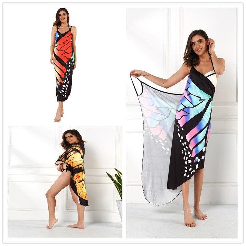 2020 Summer Women Beach Wear Tunic Bikini Bath Sarong Wrap Skirt Swimsuit Cover Up Butterfly Print Sexy Cover-Ups Dress Swimwear