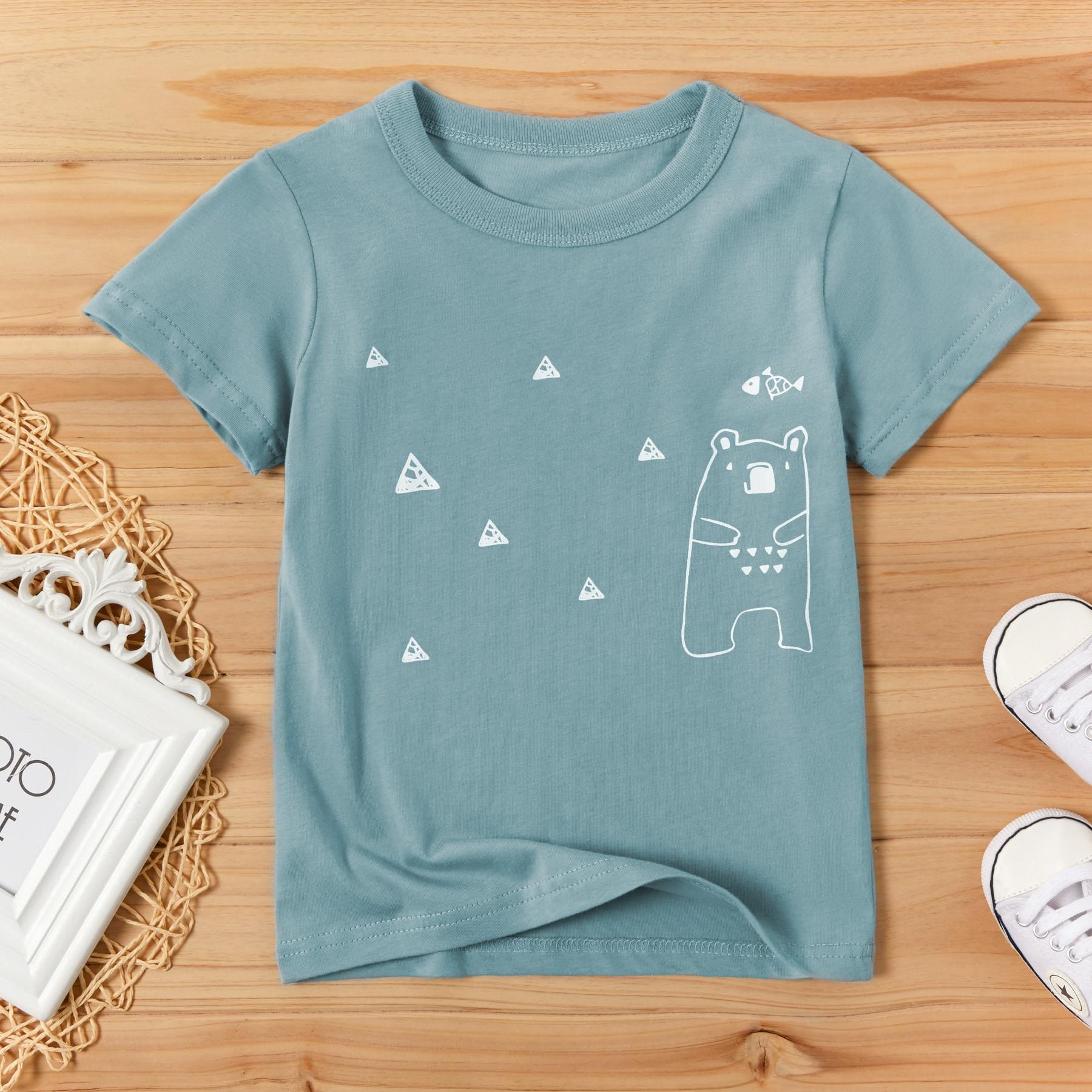 PatPat/Новая летняя футболка для маленьких мальчиков 2020, очаровательные медвежьи футболки с круглым воротником и короткими рукавами для маленьких мальчиков, детская одежда|Футболки| | АлиЭкспресс