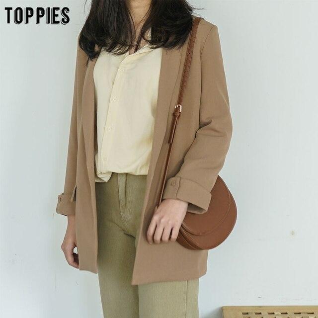 Toppies 2021 Women Long Jacket Rolled Sleeve Blazer Femenino Suit Single Button Chaquetas White Coat 6
