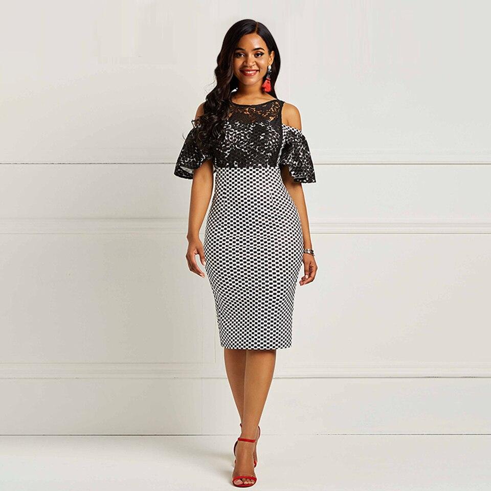Black Scoop Neck Lace Elegant Cocktail Dress Short Sleeves Zipper Up Mermaid Knee Length Party Formal Women Cocktail Dresses