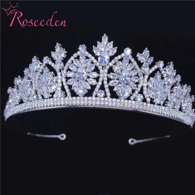 CZ zircone diadèmes couronnes reine princesse diadème boucles d'oreilles robe de soirée accessoires de cheveux de mariage bijoux de mariée RE3698