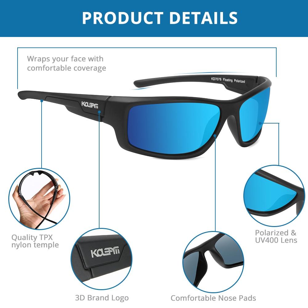 KDEAM LUXURY Floating Sunglasses Polarized men Eyewear Ice Blue mirrored lens wrap-style shades Women UV400 protection KD7078