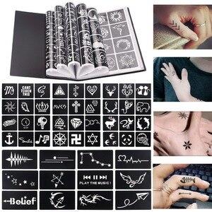 Image 2 - 17 Sheet 264 Maps Professional Waterproof Henna Tattoo Templates Temporary Glitter Airbrush Tattoo Hand Finger Drawing #242095