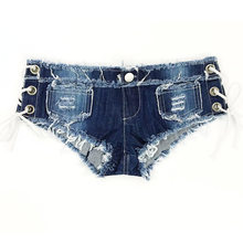 Sexy Denim Booty Jeans Shorts Club Tragen Vintage Niedliche Niedrigen Taille Lace Up Korsett Sommer Strand Bodycon Fitness Micro Mini shorts(China)