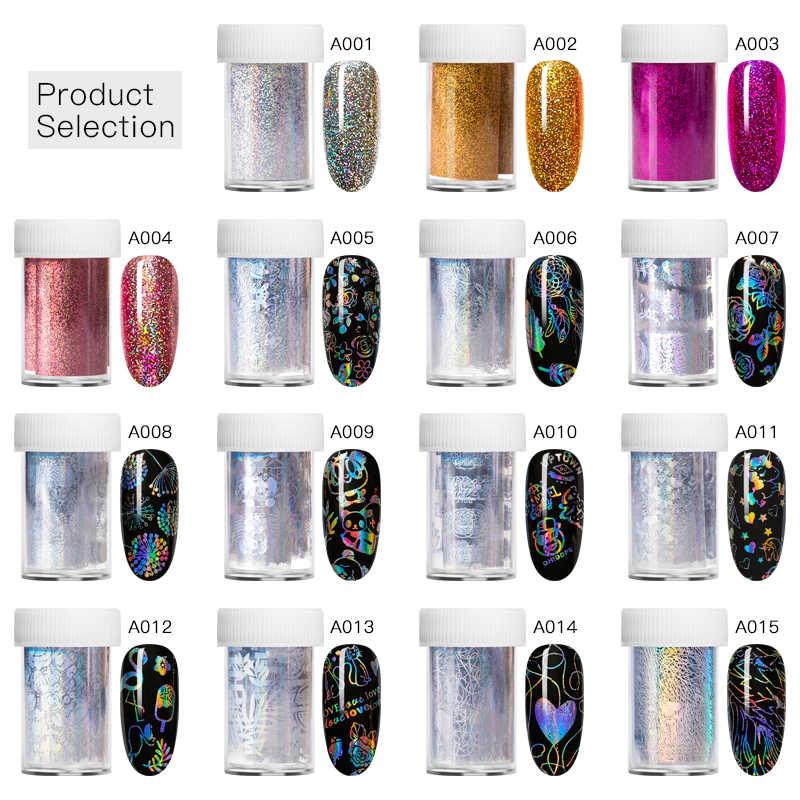 Vier Lelie Holografische Nail Folie Polish Stickers Transfer Sterrenhemel Laser Sliders Transparante Nail Art Decal Manicure Decoratie