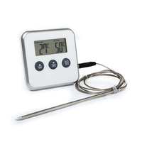 Digital Kitchen Food Cooking/Oven Thermometers/BBQ/Barbecue/Grill/Smoker Meat/Roasting/Water Thermometer With Probe&TIMER