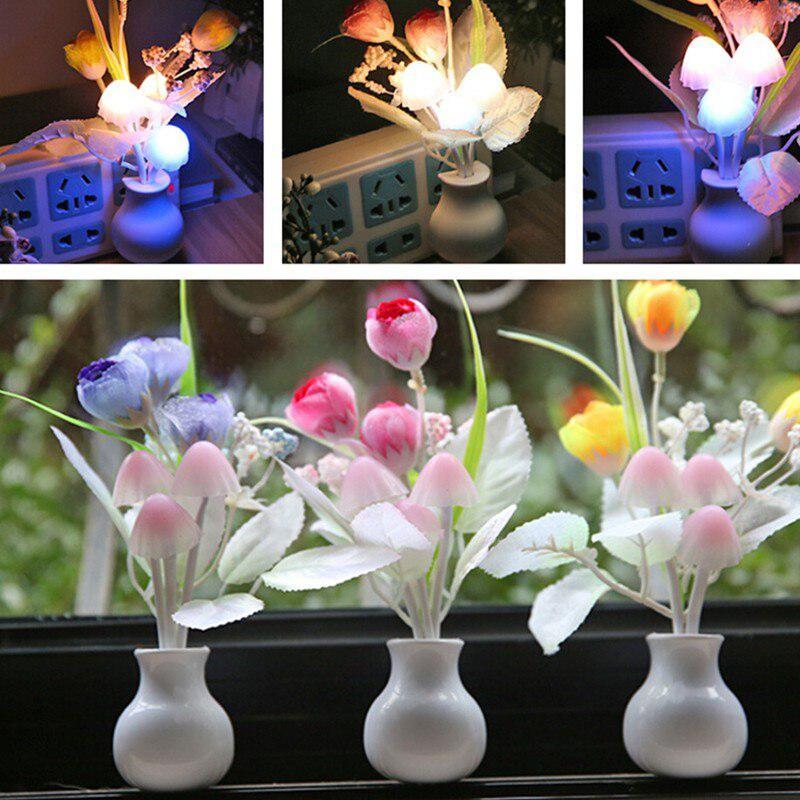 LED Night Light Cute Mushroom Tulip Flower Light Sensor Night Lamp Home Decoration Romantic Baby Bedroom Foyer EU Plug