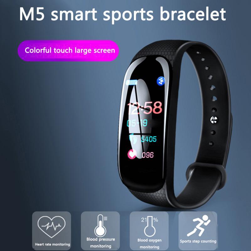 2019 Newly M5 Smart Bracelet Upgrade Sports Bracelet Heart Rate Blood Pressure Oxygen Monitoring Call Reminder Color Screen Band