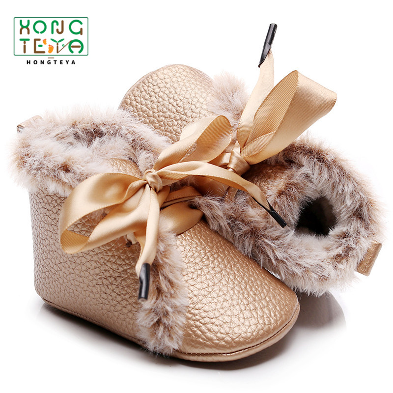 Winter Warm Baby Girl PU Leather Shoes Lace-up Soft Fur Shoes Prewalker Walking Toddler Baby Boys Shoes Winter Boots For Baby