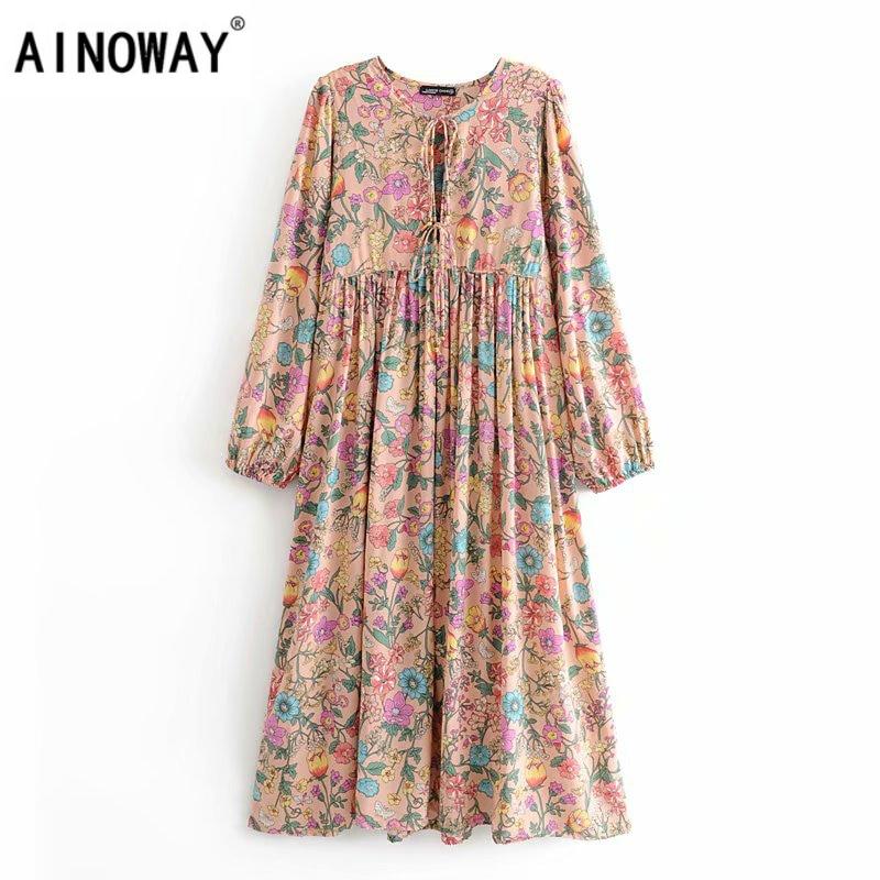 Vintage chic women elegant lace up  tassel floral print beach long Bohemian  Midi dress Ladies rayon Boho dress vestidos|Dresses|   - AliExpress