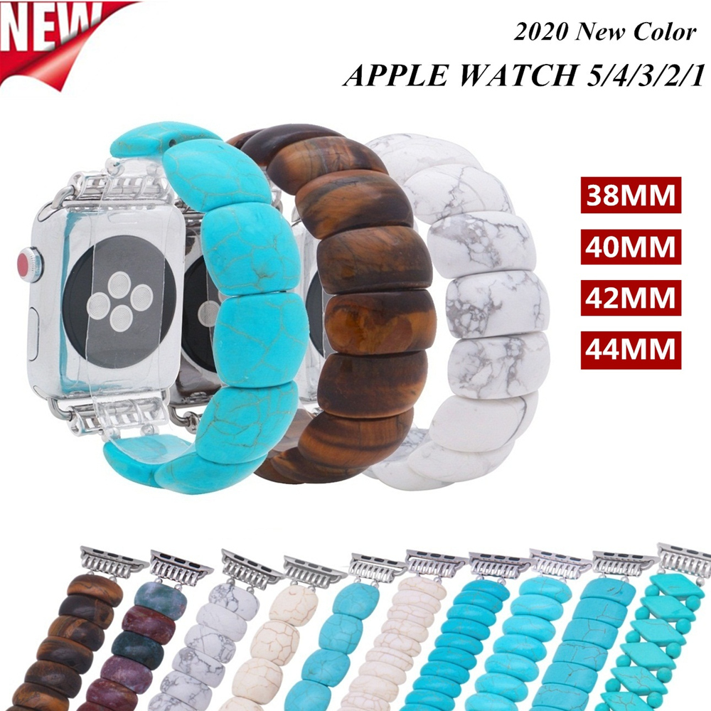 Lureen Elastic Watch Strap, Turquoise Beads For For Apple Watch Series 1/2/3 42mm 38mm Bracelet Strap For Iwatch 4/5 40mm 44mm
