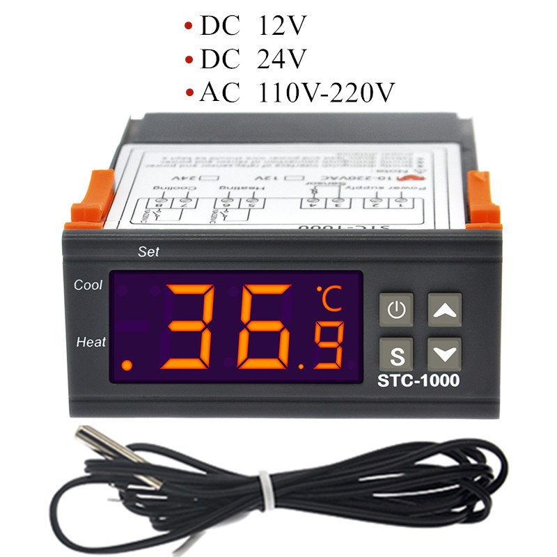 STC-1000 12V <font><b>24V</b></font> <font><b>220V</b></font> STC1000 Digital Temperature Controller Thermostat Thermoregulator incubator <font><b>Relay</b></font> Heating Cooling10A40%off image