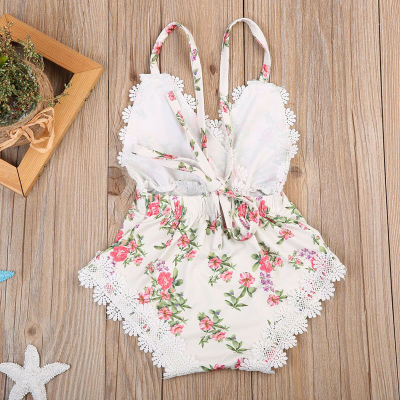 Emmababy Newborn Kids Baby Girls Clothes Floral Printed Outfits Set Lace Patchwork Jumpsuit Romper Playsuit