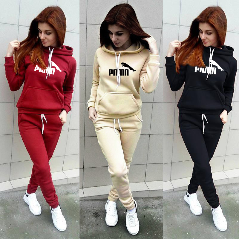 Two Piece Suit Casual Tracksuit Women Clothes Funny Letter Print Hoodie Sweatshirt+Pants Set Long Ropa Mujer New Plus Size S-4XL