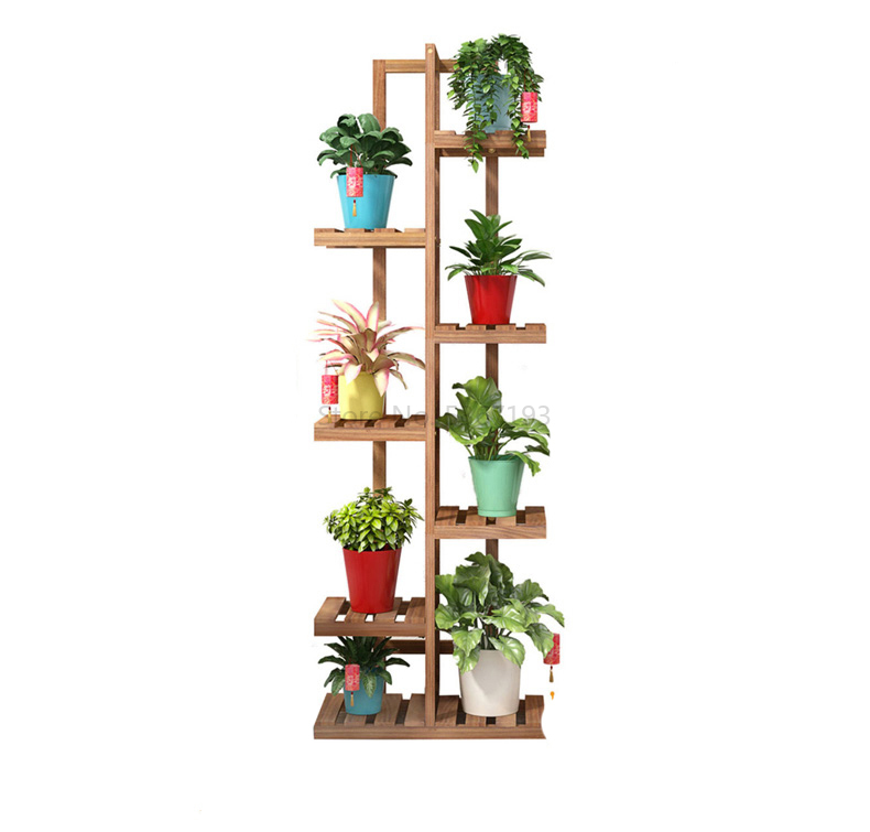 Flower Rack Multi-storey Indoor Balcony Fleshiness Green Trailing Plants Flowerpot Frame Solid Wood A Living Room Concise Floor
