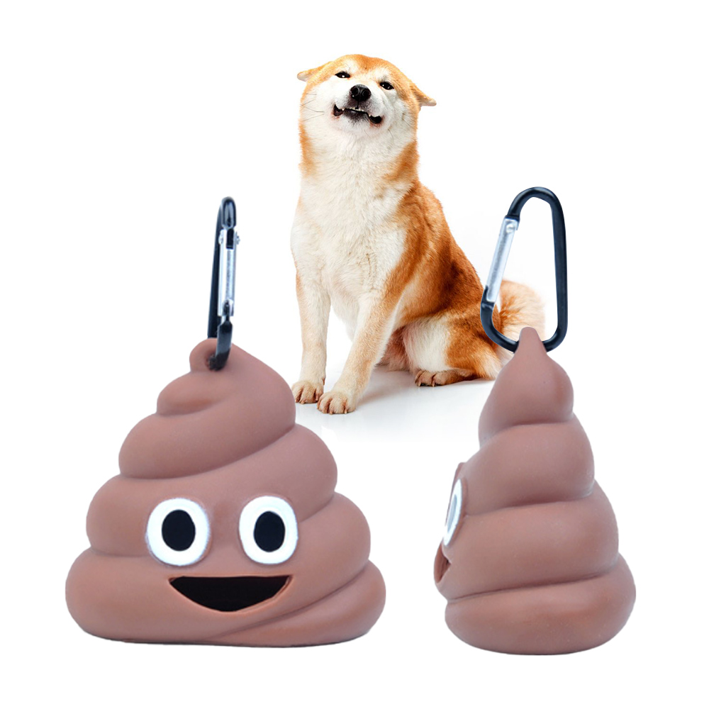 Cute Shit-shaped Dog Cat Waste Bags Pets Cleaning Products For Outdoor Pet Portable Poop Bag Dispenser Holder