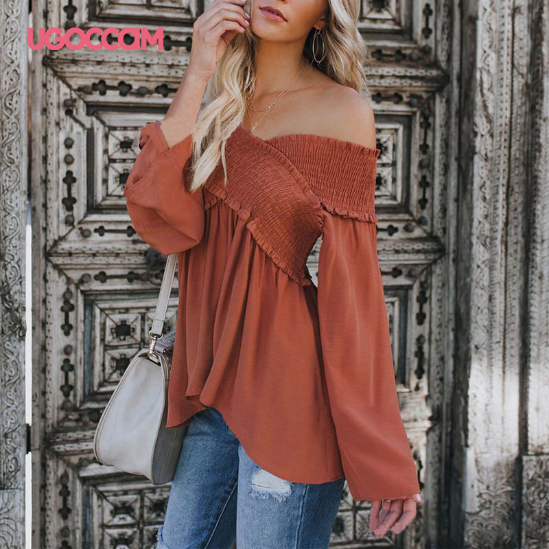 UGOCCAM Off Shoulder Top Sexy Blouse Women Fungus Womens Tops And Blouses Plus Size Blouse Shirt ropa mujer(China)