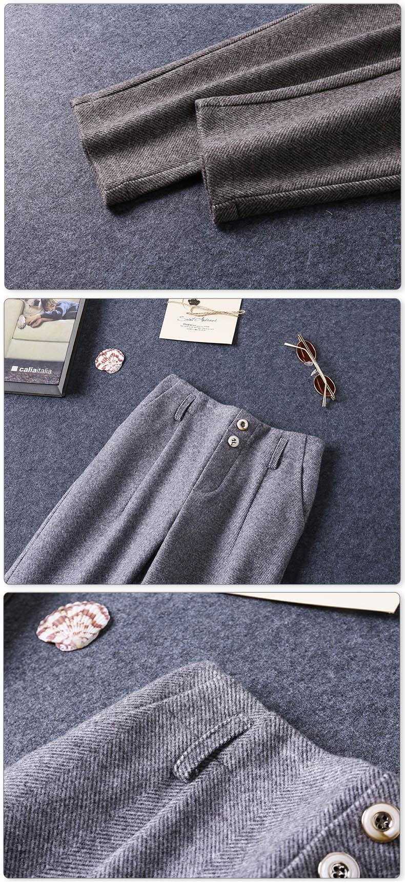 Pants For Girls 2020 Autumn Winter Casual Woolen Children's Trousers For Girls High Waist Pants New Kids Casual Suit Pants K136