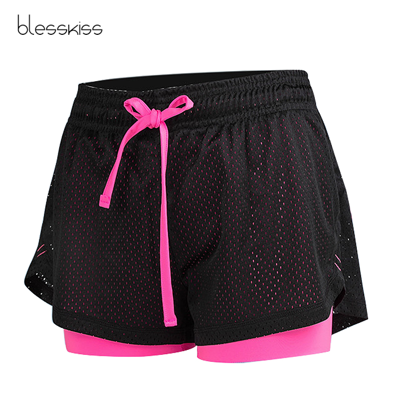 Blesskiss Mesh Sport Shorts Women Fitness Clothing Workout Lulu Running Gym Yoga Shorts For Lady Elastic Short Pants Sportswear