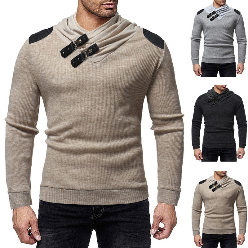 Zogaa 2019 Autumn Men's Turtleneck Sweater Pullovers Winter Male Slim Patchwork Sweaters High Street PU Button Knitted Pullovers