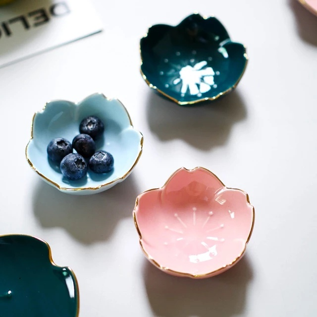 Flower Ceramic Dishes Seasoning Dipping Bowl Sakura Ceramic Dish Cherry Blossom Trinket Plate Sauce Dish Flower Dish for Kitchen 5
