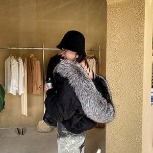 Image 4 - Abrigo de piel de zorro a la moda para mujer, forro desmontable, línea de piel de cordero de alta calidad, cazadora de estilo corto S7652