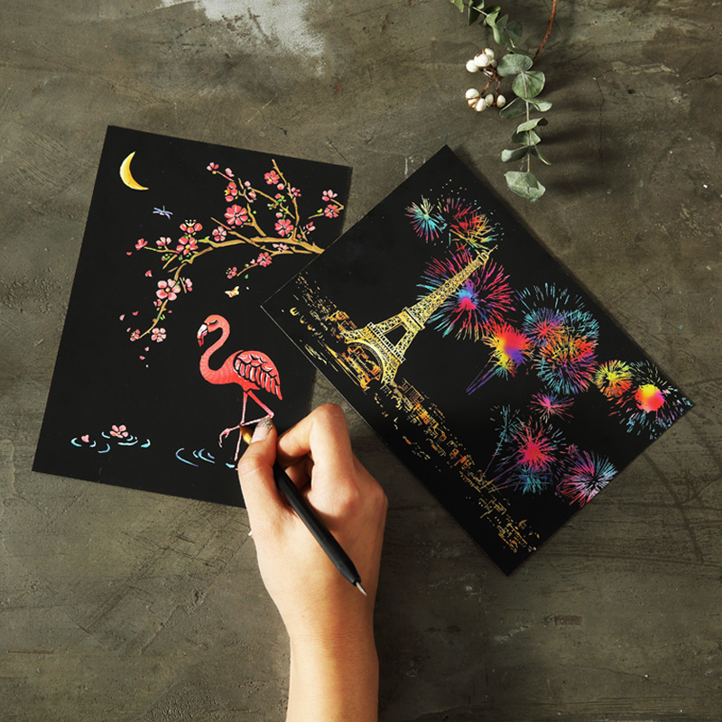 4pcs/Set Postcard Style City Night Scene Scratch Painting Colorful Scratch Painting Set Creative Children's Stationery Gift