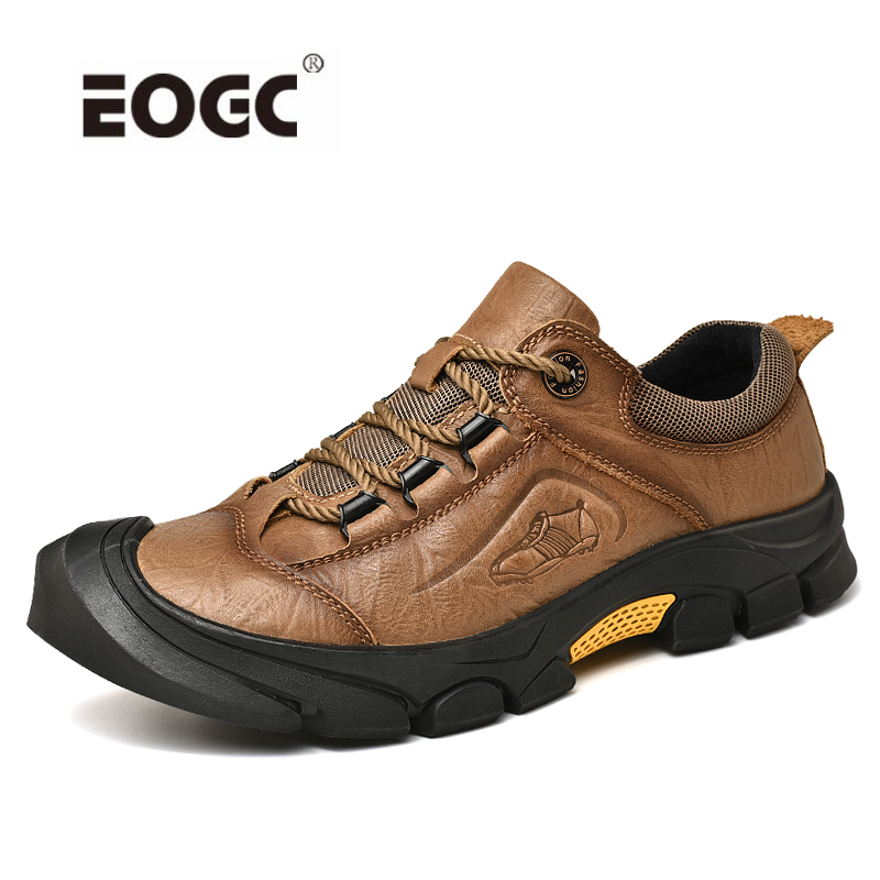 High Quality Rubber Sole Men Shoes Natural Leather Waterproof Casual Shoes Plus Size Autumn Outdoor Lace-up Flats Shoes Men