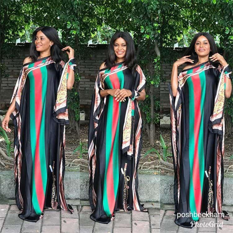 One Shoulder Strip Print Dress Plus Size Silk Kaftans