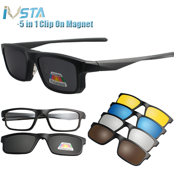 IVSTA 5 w 1 okulary przeciwsłoneczne w formie nakładki mężczyźni spolaryzowane okulary magnetyczne klipsy na receptę oprawki optyczne spektakl kobiety czytanie tanie i dobre opinie Plac Dla dorosłych Plastikowe tytanu Lustro UV400 Antyrefleksyjną 40mm Clip On Sunglasses Polaroid 2202 50mm Clip On Sunglasses