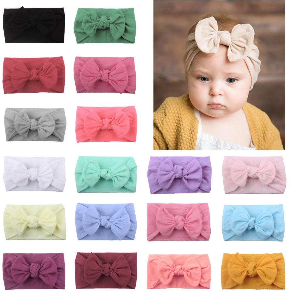 18 Colors Super Stretchy Soft Knot Baby Girl Headbands With Hair Bows Head Wrap For Newborn Baby Girls Infant Toddlers Kids