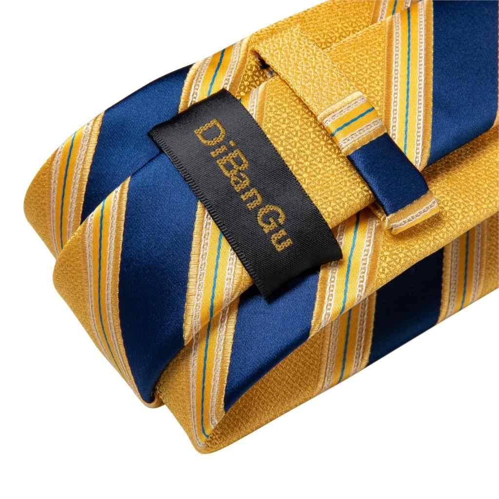 Mode Männer Krawatte Luxus Gelb Blau Gestreiften Paisley Plaid Seide Hochzeit Krawatte Für Männer DiBanGu Designer Hanky Manschettenknöpfe Geschenk Krawatte set