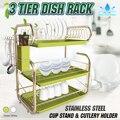 3 яруса сушилка для посуды полка для хранения кухонный держатель для мытья корзина с покрытием железный нож раковина сушилка для посуды орг...