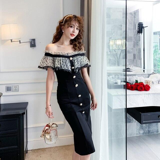 COIGARSAM Ruffles Women one-piece dress korean Polka Dot Mesh Dresses Black 6907 1