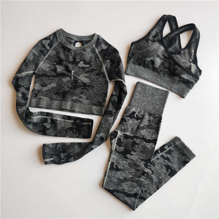 3 Pcs Camo Naadloze Yoga Set Sport Slijtage Vrouwen Fitness Kleding Yoga Leggings + Sport Bh + Lange Mouwen Crop top Gym Sport Past