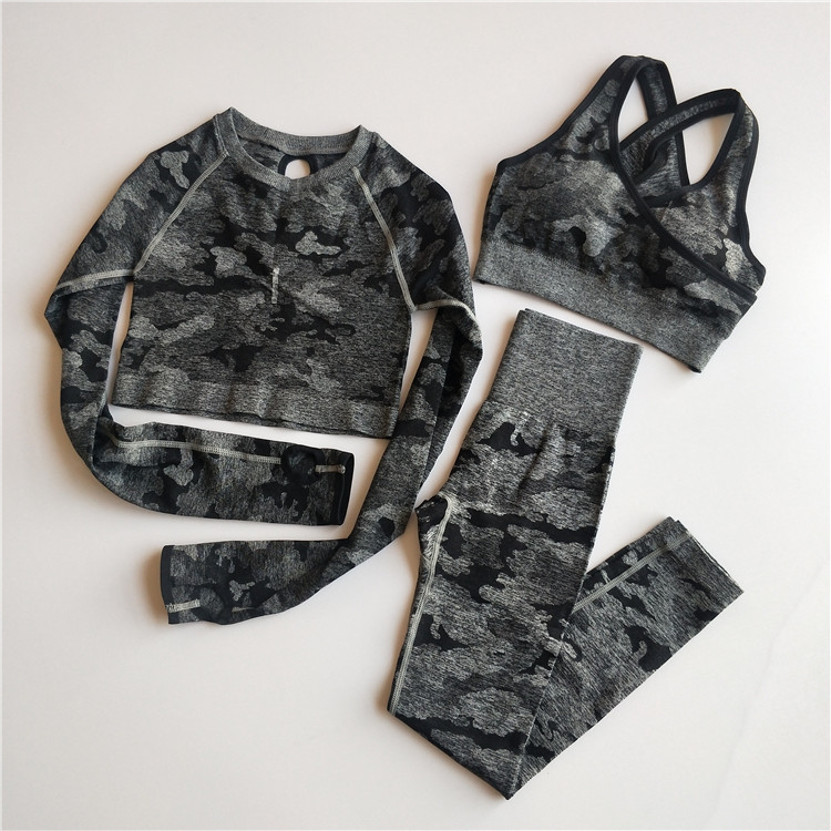 Women Fitness Clothing Crop-Top Yoga-Set Sports-Suits Gym Seamless Long-Sleeve Camo 3PCS title=