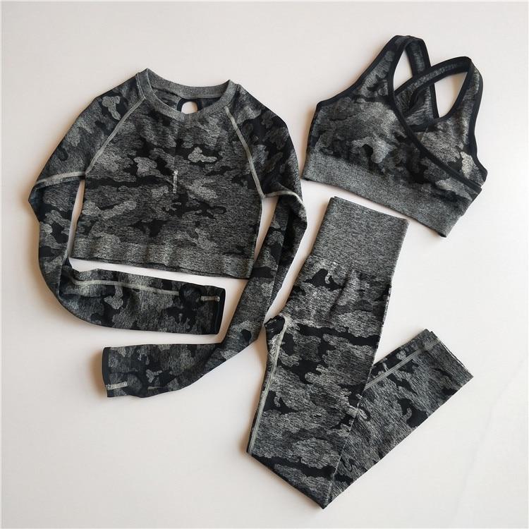 3PCS Camo Seamless Yoga Set Sports Wear  Women Fitness Clothing Yoga Leggings+Sport Bra+Long Sleeve Crop Top Gym Sports Suits