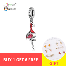 StrollGirl  925sterling silver red bird pendant bead with Pandora bracelet and necklace women fashion jewelry free shipping