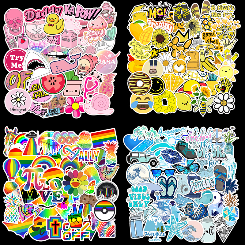 50Pcs PVC Waterproof Girls Kawaii Pink Yellow Blue Sticker Toys Luggage Stickers For Motor Car & Suitcase Fashion Laptop Decals